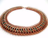 Copper Chainmail Necklace with Mint Accents Torq Free Shipping