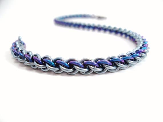 Blue Niobium Chainmail Bracelet Micro Chainmaille Jewelry
