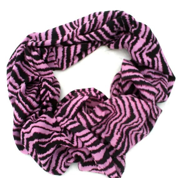 Hot Pink Zebra Infinity Scarf Animal Print Zebra Print