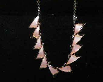 Vintage Gold Tone Pink Triangle Link Choker Necklace Elegant Jackie O 1960s Style ART Costume Jewelry