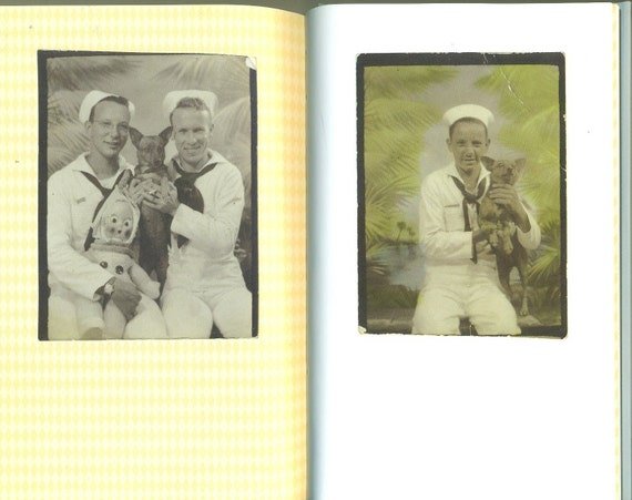 Photobooth Dogs Vintage Photo Booth Puppy Dog Photograph Book WW2 Navy Sailors Carnival 1920s 1930s 1940s World War 2 Era Hardcover Book
