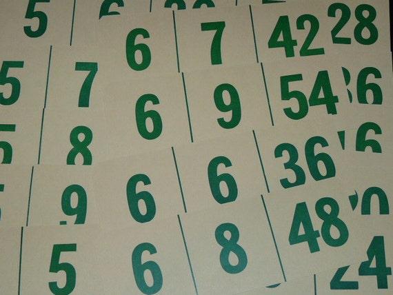Lot Set 40 Vintage White Green Number Math Flash Cards Multiplication Division Relationship Cards Rectangle Ideal