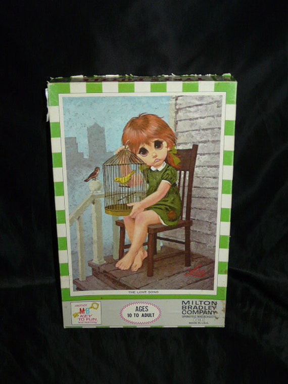 Vintage Milton Bradley Tykes Puzzle The Love Song by Lee Big Eyed Little Girl Birds City Porch Bird Cage Green Dress Jigsaw