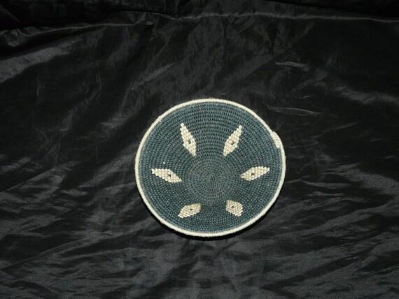 Vintage Dark Green Light Brown Diamond African Basket Bowl Weave Woven Organic Natural Style