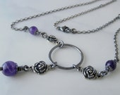 Bloom Amethyst Necklace. Sterling Silver. Dark Finish. Purple Gemstone. Lunammora
