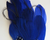 Fascinator Feather Vibrant Blue with crystal jewelled