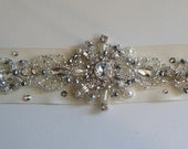 Bridal belt Hand beaded Crystal encrusted design on IVORY grosgrain ribbon