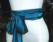 TEAL color Sash satin charmeuse various way to tie
