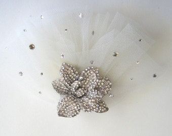 Vintage-inspired crystal headpiece handcrafted ivory