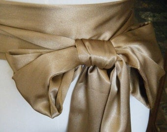 Super Sale, 132 inch Caramel Tone Sash in satin charmeuse various way to tie