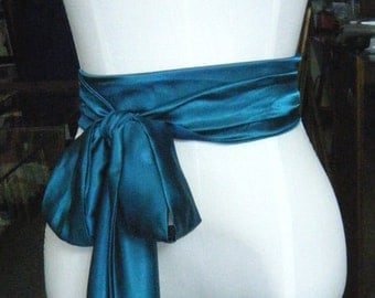 Super Sample Sale: TEAL color Sash satin charmeuse with small defects