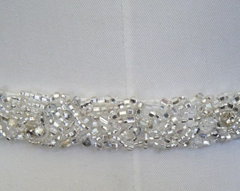 Bridal belt Sylvia encrusted crystals hand beaded on Off White dupioni silk