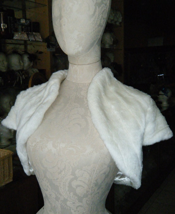 CLEARANCE Faux Fur Bolero IVORY size S & custom order also available