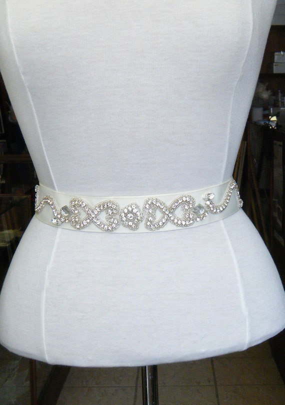Clearance Bridal belt Sarah Crystal encrusted design on IVORY Grosgrain ribbon
