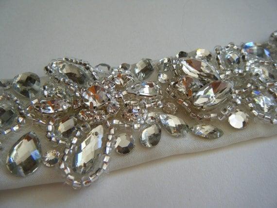Bridal belt Carri Hand beaded Crystal encrusted design on IVORY