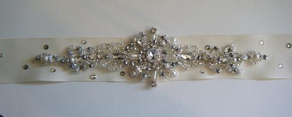 Bridal belt Hand beaded Crystal encrusted design on IVORY grosgrain ribbon
