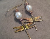 Dragonfly Pearl Earrings Offbeat Victorian Yellow Gold White Olive Green Copper Ginger Charcoal Latte Taupe Painted Enamel Patina