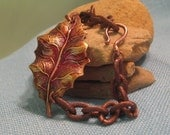 Autumn Leaf Bracelet Copper Brass Heavy Oval Link Indian Summer Fall Color Gilded Painted Enamel Gold Ginger Coffee Brown Cranberry Red Plum