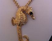 Vintage Gold Seahorse Necklace