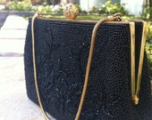 Black and Gold Beaded Vintage Clutch