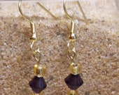 Cute purple and gold dangles - E103