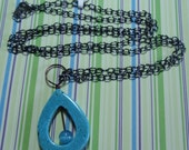 """Tear drop blues necklace - 32"""" inches - N61"""