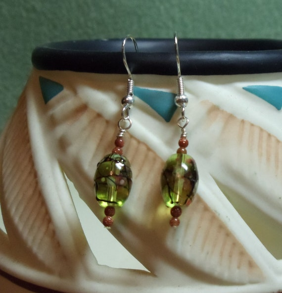 Green splashed with color earrings - E136