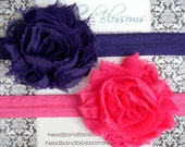 Set of 2 Shabby Frayed Hot Pink and Purple Chiffon Rosettes on Elastic Headband - Photo Prop - Newborn Baby Toddler Girl Adult
