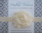 SHOP BEST SELLER - Chic Ivory Shabby Frayed Chiffon Flower Rosette on Shimmery Elastic Headband - Newborn Baby Toddler Girl - Photo Prop