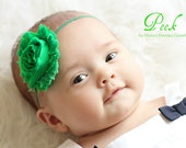 SHOP BEST SELLER Green Shabby Frayed Chiffon Rosette Flower on Skinny Elastic Headband - Newborn Baby Girl - St Patrick's Day - Christmas