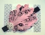 Stunning Rhinestone Pink and Black Curled Goose Feather Headband - Photo Prop - Newborn Baby Toddler - Birthday