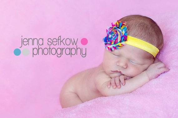 Chic Rainbow Shabby Frayed Chiffon Flower on Yellow Shimmery Elastic Headband - Photo Prop - Newborn Toddler Girls - Baby Shower