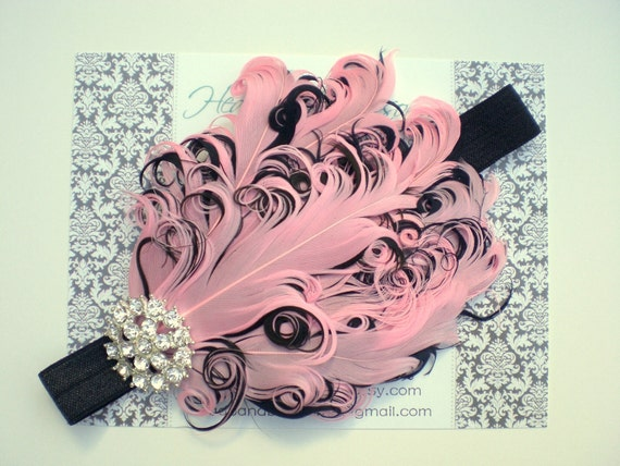 Stunning Rhinestone Pink and Black Curled Goose Feather Headband - Photo Prop - Newborn Baby Toddler - Birthday