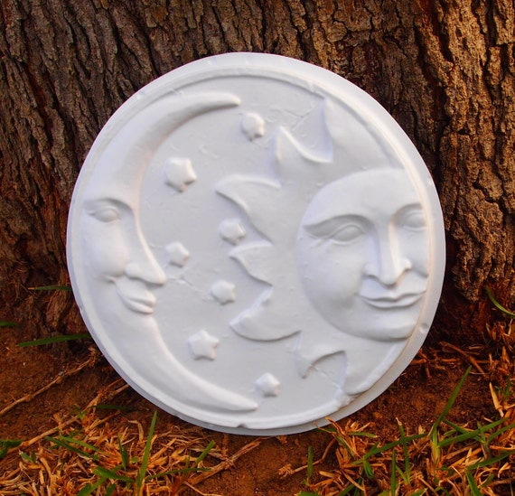 Sun Moon Wall Plaque Mold ABS Plastic Plaster Cement Concrete Garden Ornament Wall Hanging Mould