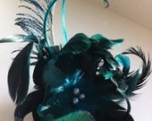 MISCHA - Teal, Turquoise & Black Feather Hair Clip / Fascinator with Smoke Glass Pearls