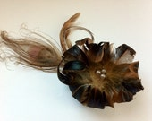 GOLDEN MISCHA - Gold, Taupe & Black Feather Hair Clip / Fascinator with Champagne Glass Pearls