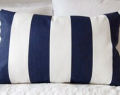"16"" x 24"" Navy Blue Stripe Decorative Pillow Cover"