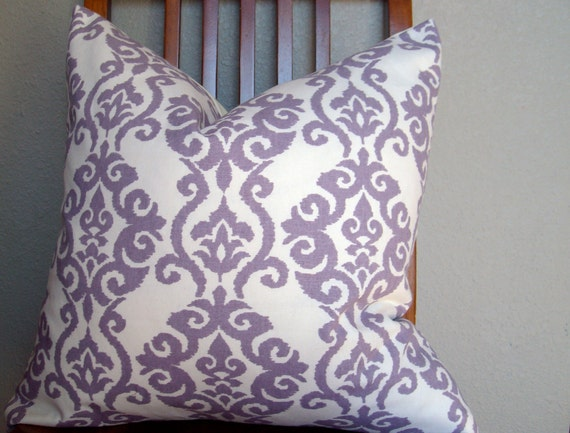 Purple Ivory Damask 20x20 Throw Pillow Cover
