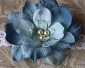 Blue Delphinium Flower on thin white Lace Headband