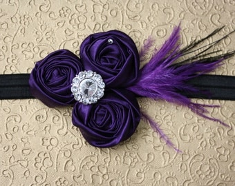 Elegant Dark Purple Rosettes with Flower Rhinestone Purple and Black Feathers on Black Elastic Headband