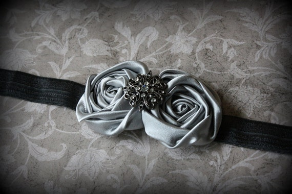 Silver Gray Rosettes on Charcoal Elastic Headband