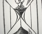 """Original Woodcut-""""Time Keeps Slipping""""-edition of 10"""