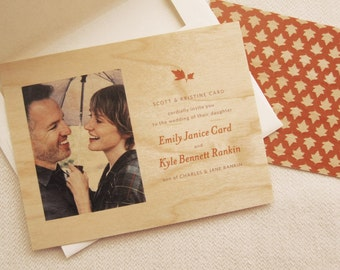 Custom Wooden Wedding Invitation