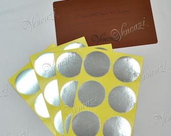 "2"" Serrated Rd Sticker Label for Embosser- Silver 24pcs (Buy 5 packs plus FREE GIFT)"