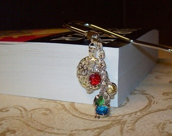 Harry Potter Inspired Bookmark with Faceted Gemstones In Silver Circle Filigree Locket