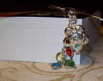 Harry Potter Inspired Bookmark with Faceted Gemstones in Silver Flower Locket