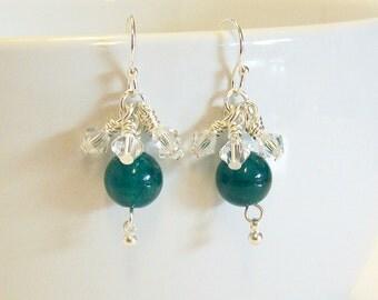 Gorgeous Jade-Green Agate & Swarovski Crystal Earrings