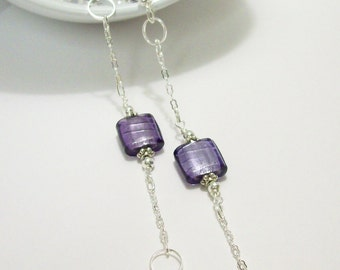 Purple & Silver Beaded Glass Necklace