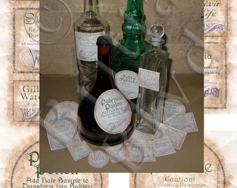 Set 2 Precut Wizard Potions Apothecary Alchemy Bottle Labels