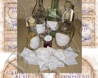 Precut Apothecary Alchemy Bottle Labels 1